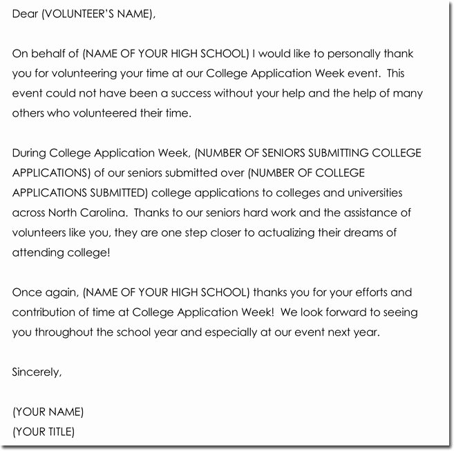 volunteer thank you letter templates