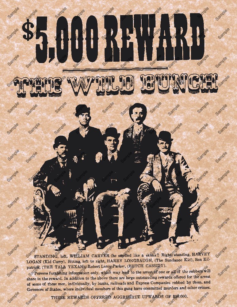 Wanted Posters Old West Awesome $5000 Reward the Wild Bunch Old West Wanted Poster Western Home Decor 039