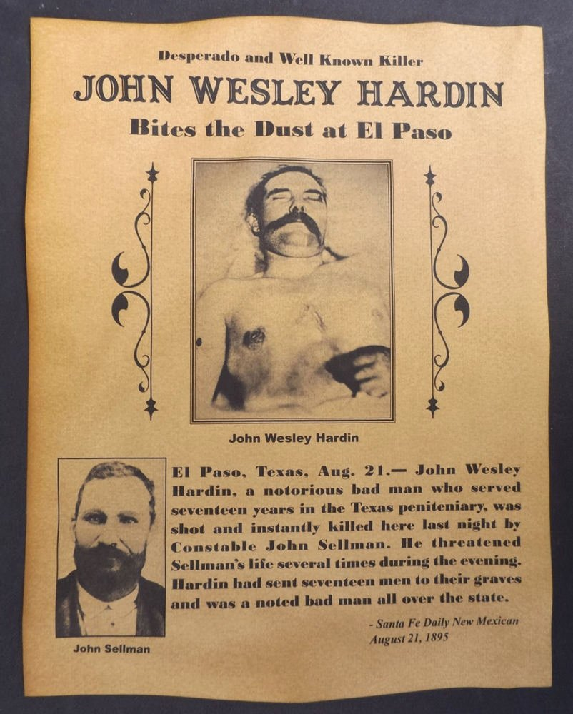 Wanted Posters Old West Best Of John Wesley Hardin Death Notice Poster Western Outlaw Old West Wanted