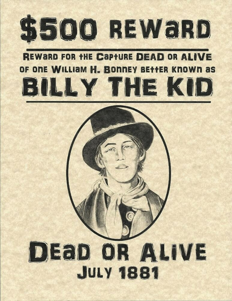 Wanted Posters Old West Inspirational Old West Wanted Posters Billy the Kid Guns Down Texas Red Grant