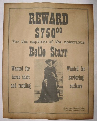 Wanted Posters Old West Lovely Belle Starr Wanted Poster Western Outlaw Old West for Sale Online