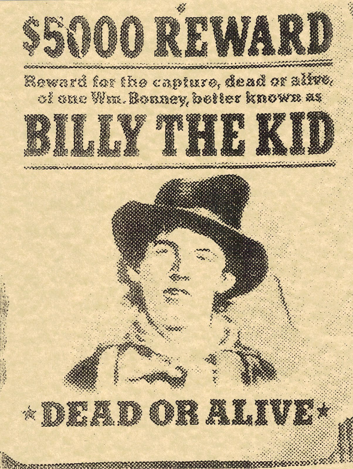 Wanted Posters Old West Unique Bunkhouse Bargains Billy the Kid Wanted Poster