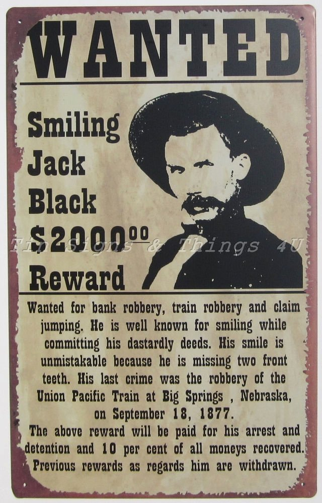 Wanted Posters Old West Unique Smiling Jack Black Wanted Poster Tin Sign Metal Western Funny Bar Wall Decor Ohw