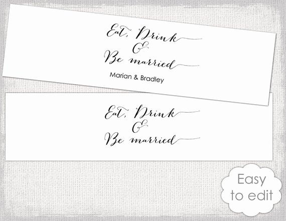 Water Bottle Label Template Inspirational Items Similar to Printable Water Bottle Label Template Diy