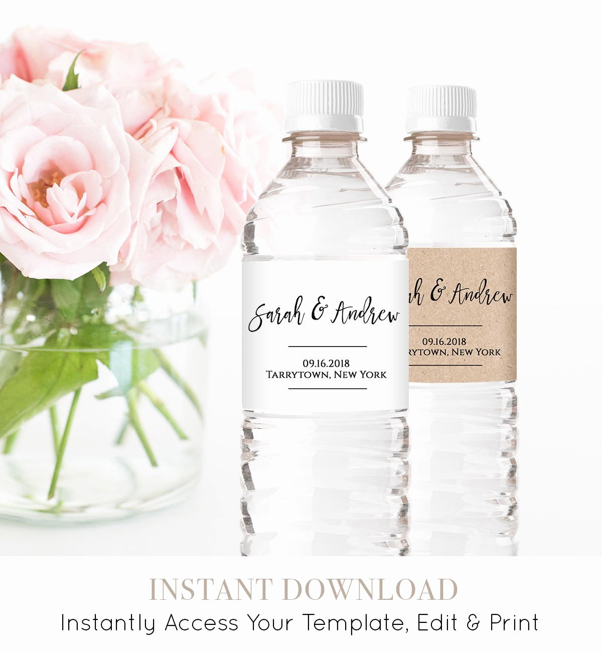 Water Bottle Label Template Lovely Wedding Water Bottle Label Template Printable Diy Wedding