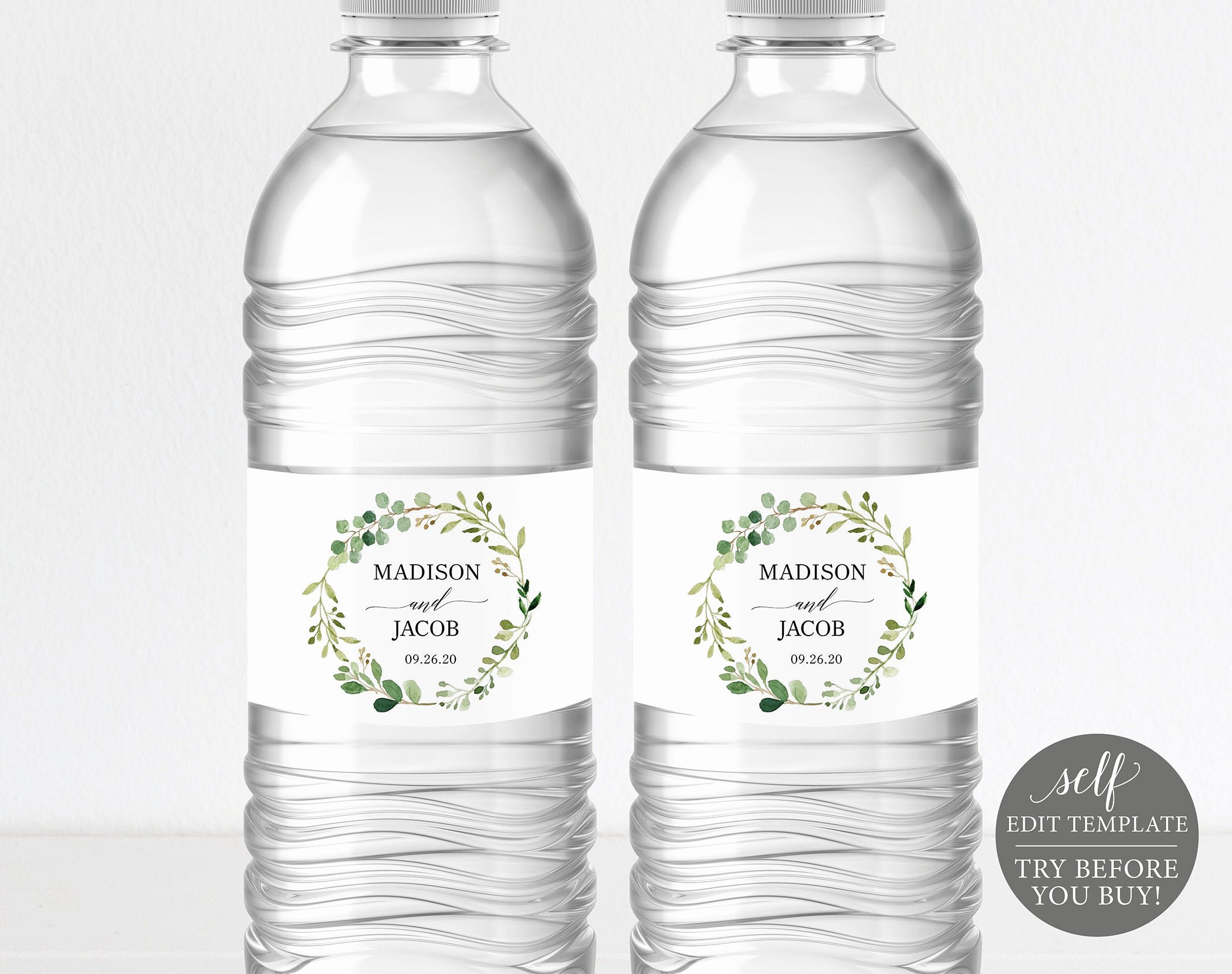 Water Bottle Label Template New Greenery Wedding Water Bottle Label Template Printable