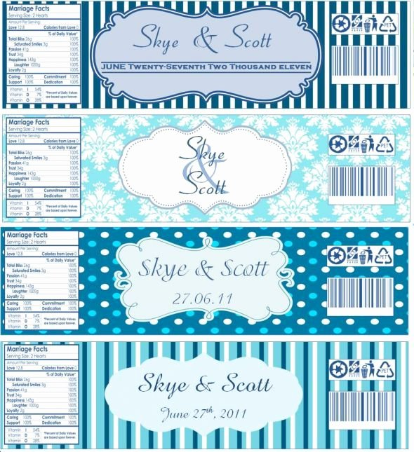 Water Bottle Label Template New Water Bottle Labels now with Templates Wedding Blue