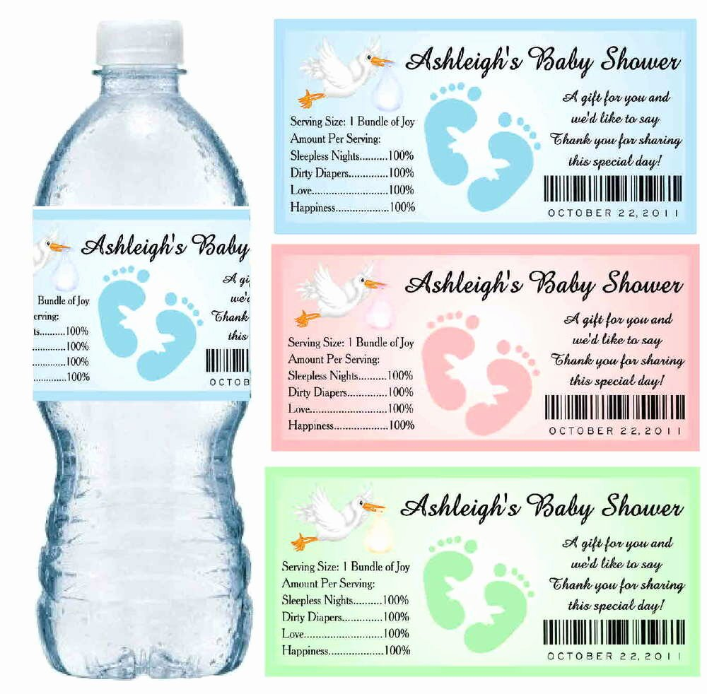 Water Bottle Label Template Unique 30 Baby Shower Water Bottle Labels Glossy Waterproof