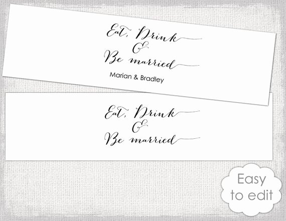 "Water Bottle Labels Template Awesome Items Similar to Printable Water Bottle Label Template Diy ""bombshell"" Modern Calligraphy"