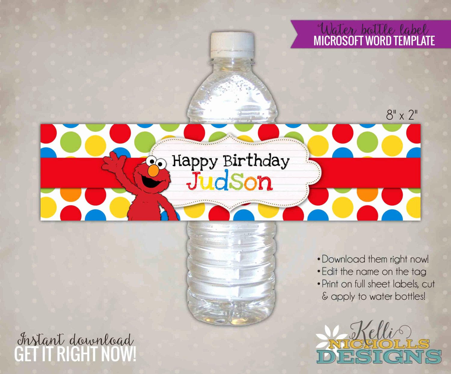 Water Bottle Labels Template Beautiful Custom Elmo Water Bottle Label Template Sesame Street