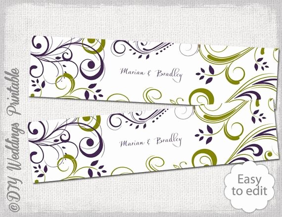 Water Bottle Labels Template Beautiful Diy Water Bottle Label Template Green & Purple