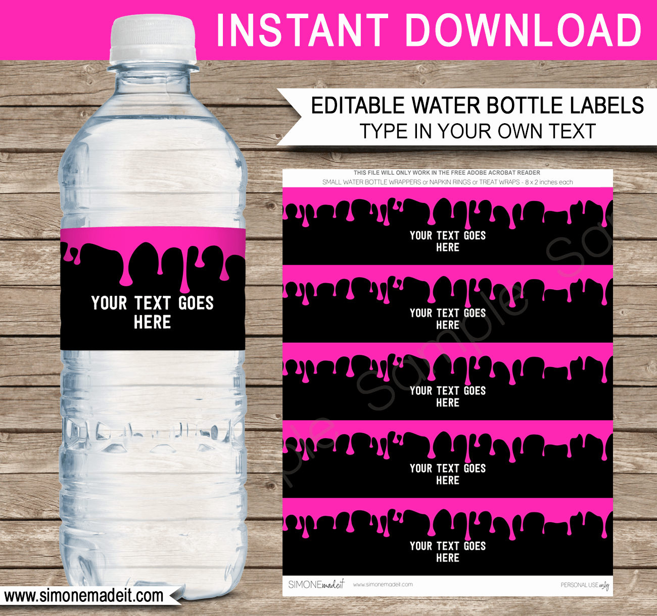 Water Bottle Labels Template Best Of Slime Birthday Party Printables Invitations & Decorations