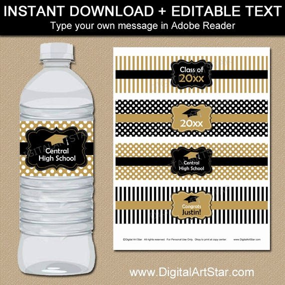 Water Bottle Labels Template Lovely Black and Gold Graduation Water Bottle Label Template