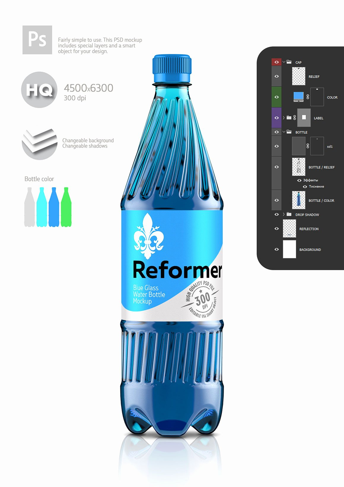 Water Bottle Mock Up Fresh Water Bottle Mockup 4 Files Poster