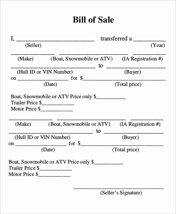 Watercraft Bill Of Sale Awesome Sample Boat Bill Of Sale 7 Examples In Pdf