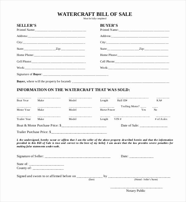Watercraft Bill Of Sale Beautiful Free 15 Sample Boat Bill Of Sale forms In Pdf