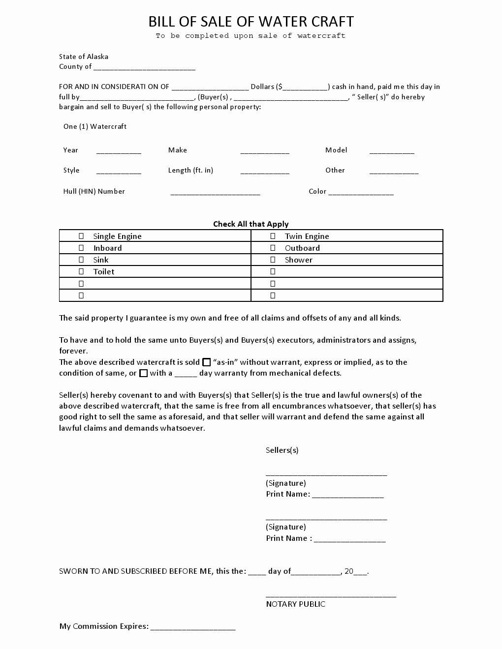 Watercraft Bill Of Sale Fresh Free Alaska Watercraft Bill Of Sale form Download Pdf