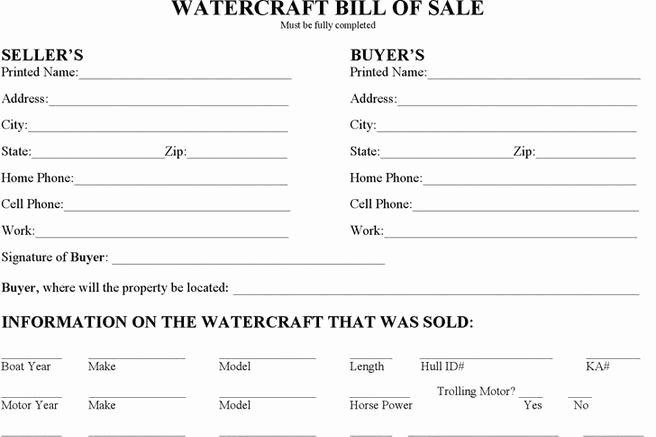 Watercraft Bill Of Sale Luxury 3 Watercraft Bill Of Sale Free Download