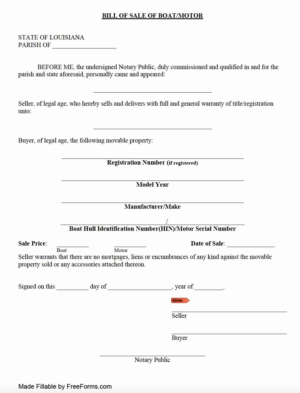 Watercraft Bill Of Sale New Free Louisiana Boat Vessel Bill Of Sale form