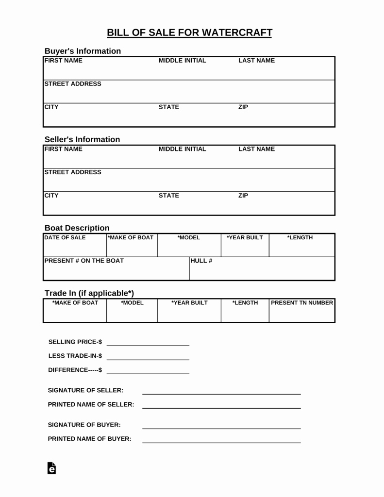 Watercraft Bill Of Sale New Free Tennessee Watercraft Bill Of Sale form Pdf