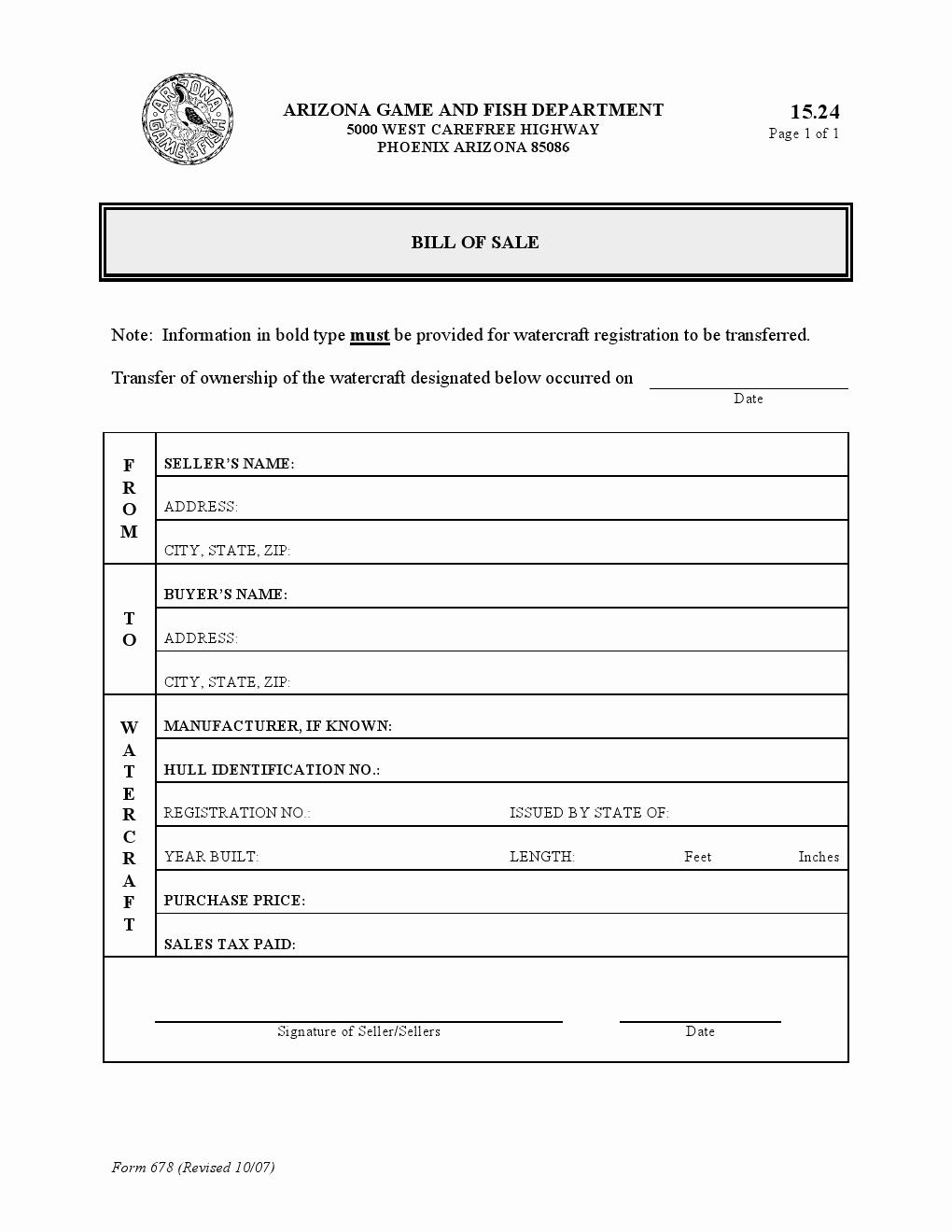 Watercraft Bill Of Sale Unique Free Arizona Watercraft Bill Of Sale form Download Pdf