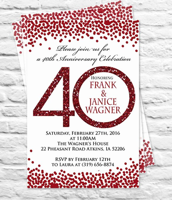 Wedding Anniversary Invitation Template Fresh 28 40th Wedding Anniversary Program Template – Best Party Ideas