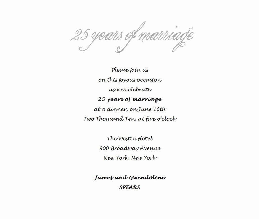 Wedding Anniversary Invitation Templates Elegant 25th Wedding Anniversary Invitations 4 Wording