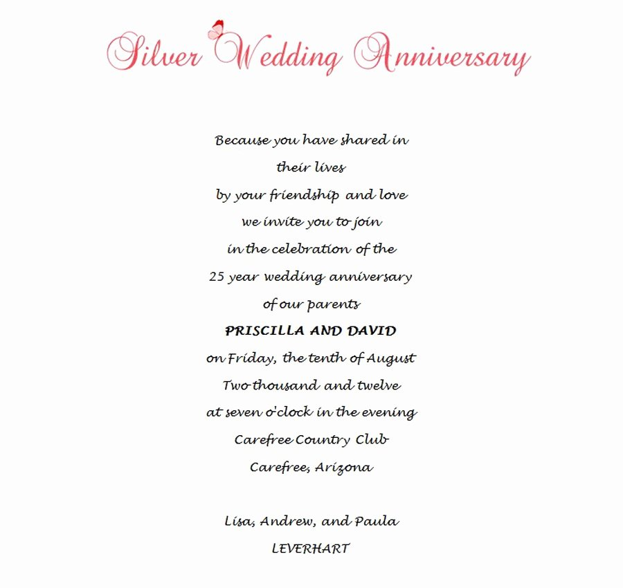 Wedding Anniversary Invitation Templates Elegant 25th Wedding Anniversary Invitations 8 Wording
