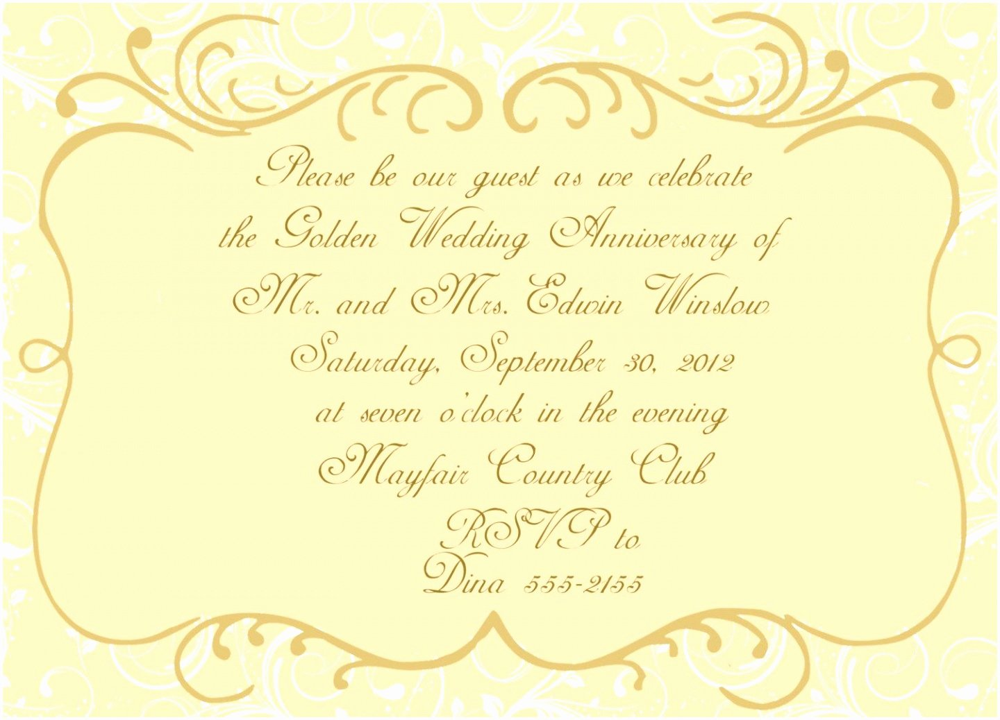 Wedding Anniversary Invitation Templates Fresh 5 Golden Anniversary Invitation Templates Yaptw
