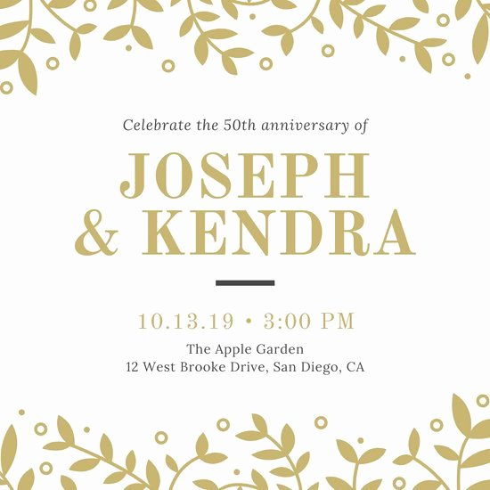 Wedding Anniversary Invite Template Awesome Customize 388 50th Anniversary Invitation Templates Online Canva