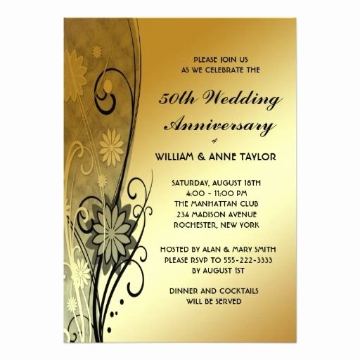 Wedding Anniversary Invite Template Beautiful 50th Wedding Anniversary Invitations Templates 50th Anniversary Card