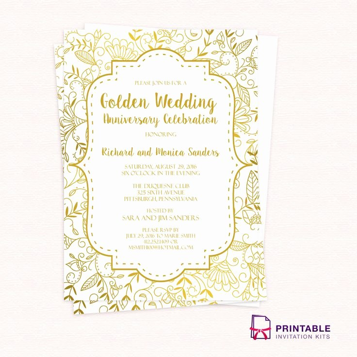 Wedding Anniversary Invite Template New Golden Wedding Anniversary Invitation Template 50th Wedding Anniversary