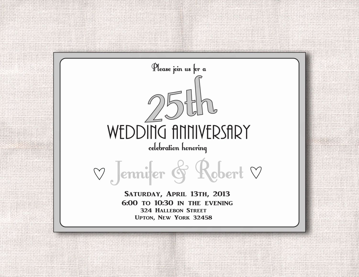 Wedding Anniversary Invite Template New Surprise 25th Wedding Anniversary Invitation Templates Wedding Invitations