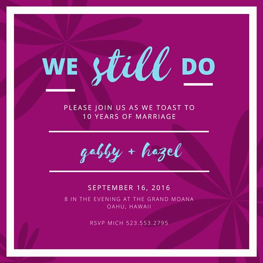 Wedding Anniversary Invite Template Unique 10th Wedding Anniversary Floral Invitation Templates by Canva