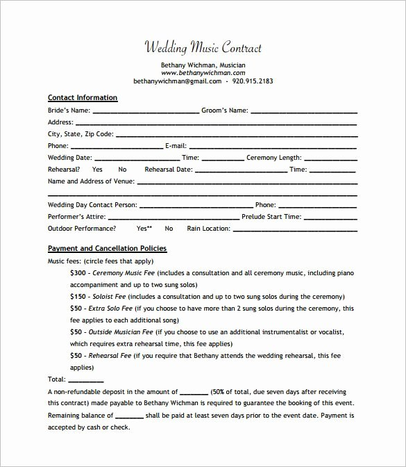 Wedding Band Contract Template Beautiful Wedding Band Contract Templates Dj In 2019