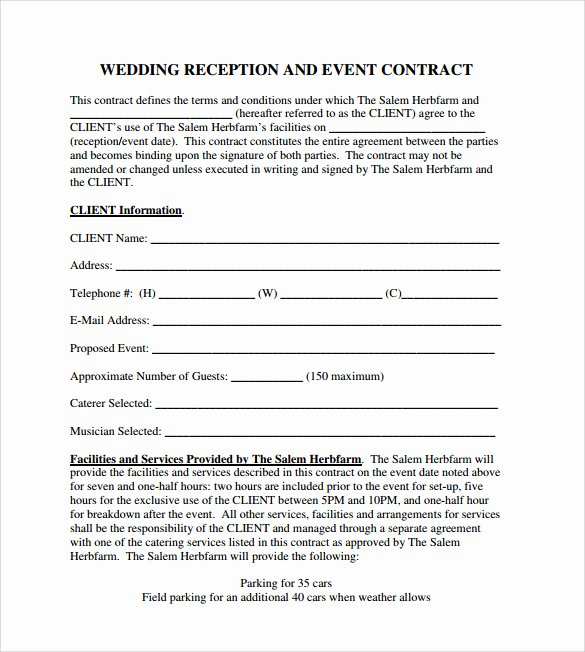 Wedding Band Contract Template Elegant 19 event Contract Templates to Download for Free
