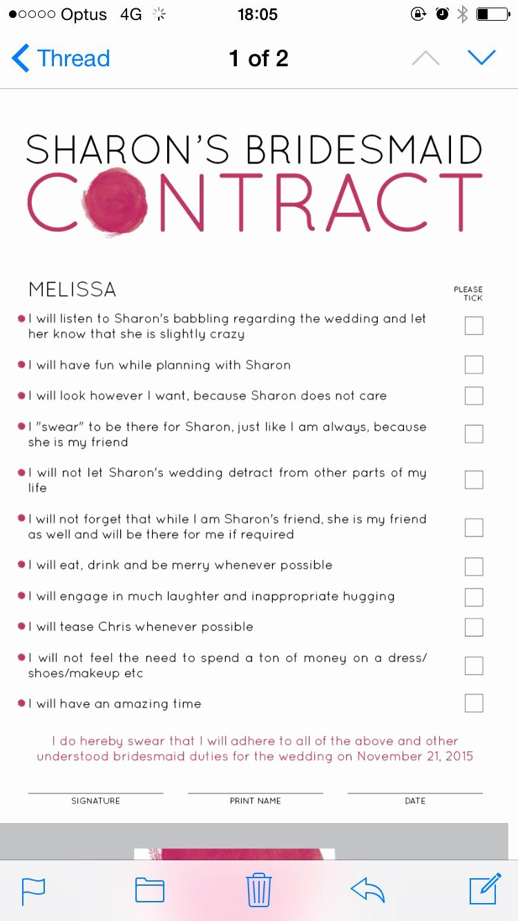 Wedding Band Contract Template Fresh Bridesmaid Contract A Proposal for My Maids