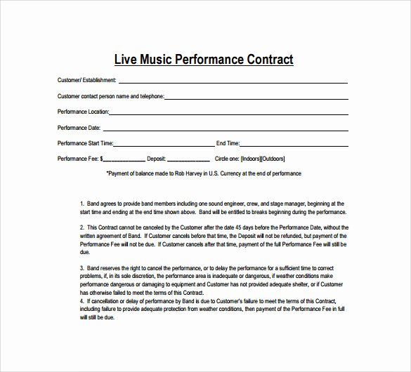 Wedding Band Contract Template Fresh Sample Music Contract Template 22 Free Documents In Pdf