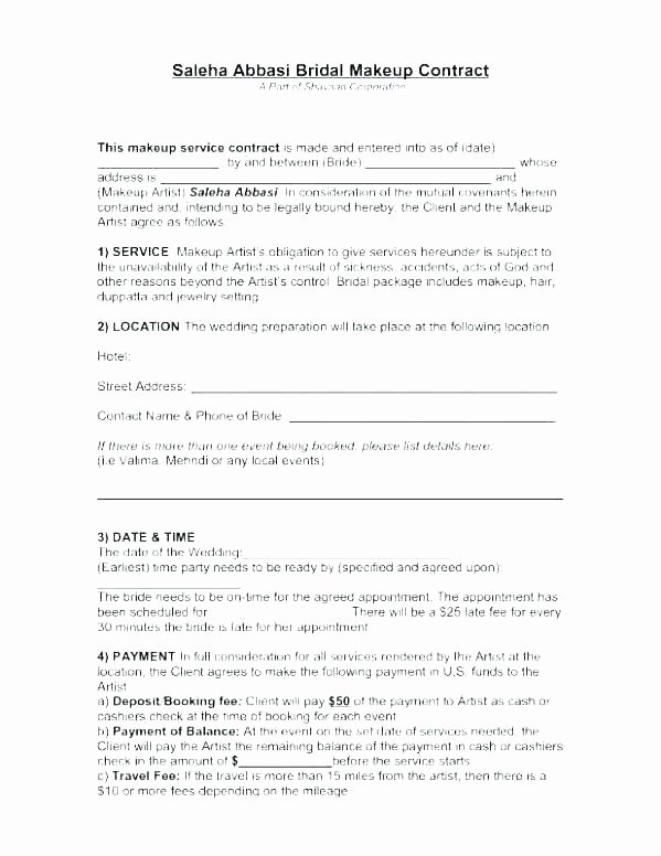 Wedding Band Contract Template Inspirational Bridal Makeup Contract Uk Mugeek Vidalondon