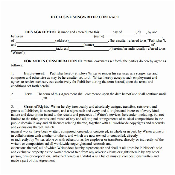 Wedding Band Contract Template Unique 20 Music Contract Templates Word Pdf Google Docs