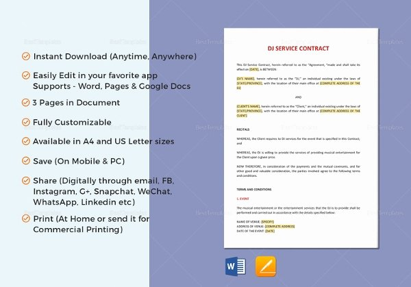 Wedding Band Contract Template Unique 9 Sample Band Contract Templates Word Pdf Google Docs