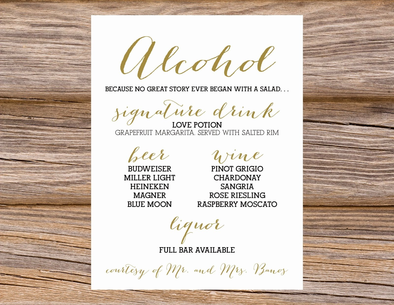 Wedding Bar Menu Template Awesome Sugar Queens Wedding Calligraphy Bar Menus