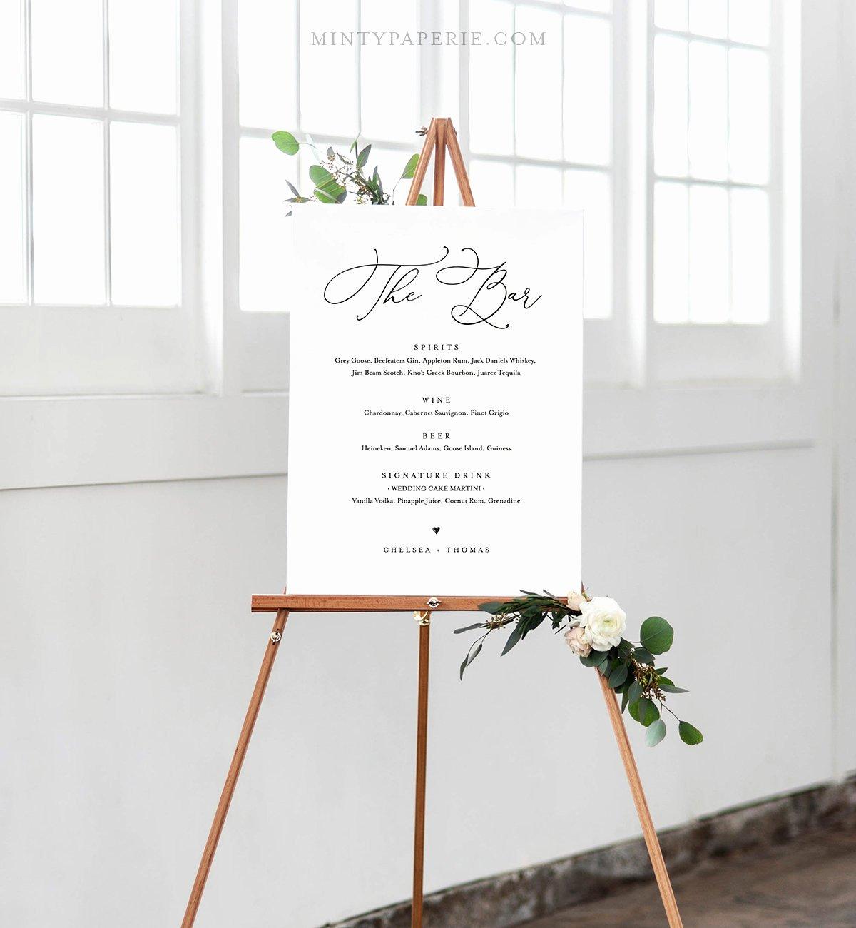 Wedding Bar Menu Template Beautiful Wedding Bar Menu Template Instant Download Editable