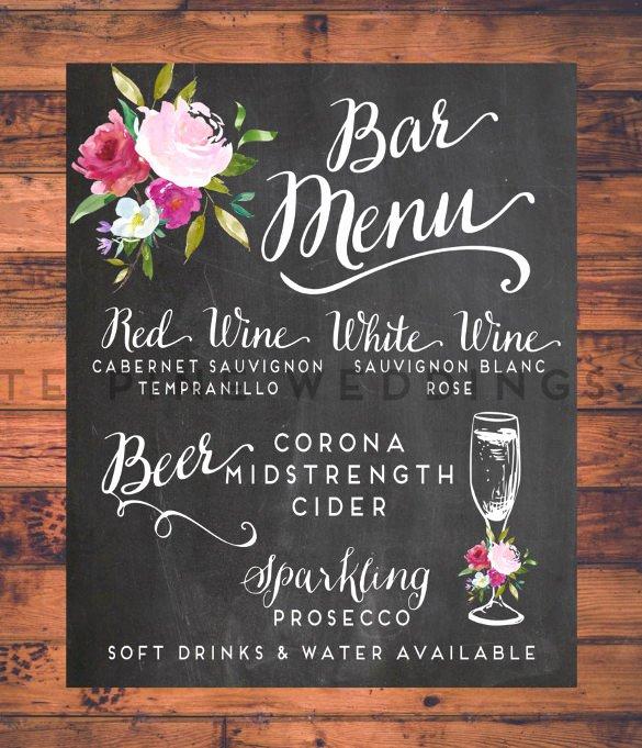 Wedding Bar Menu Template Best Of 24 Bar Menu Templates – Free Sample Example format