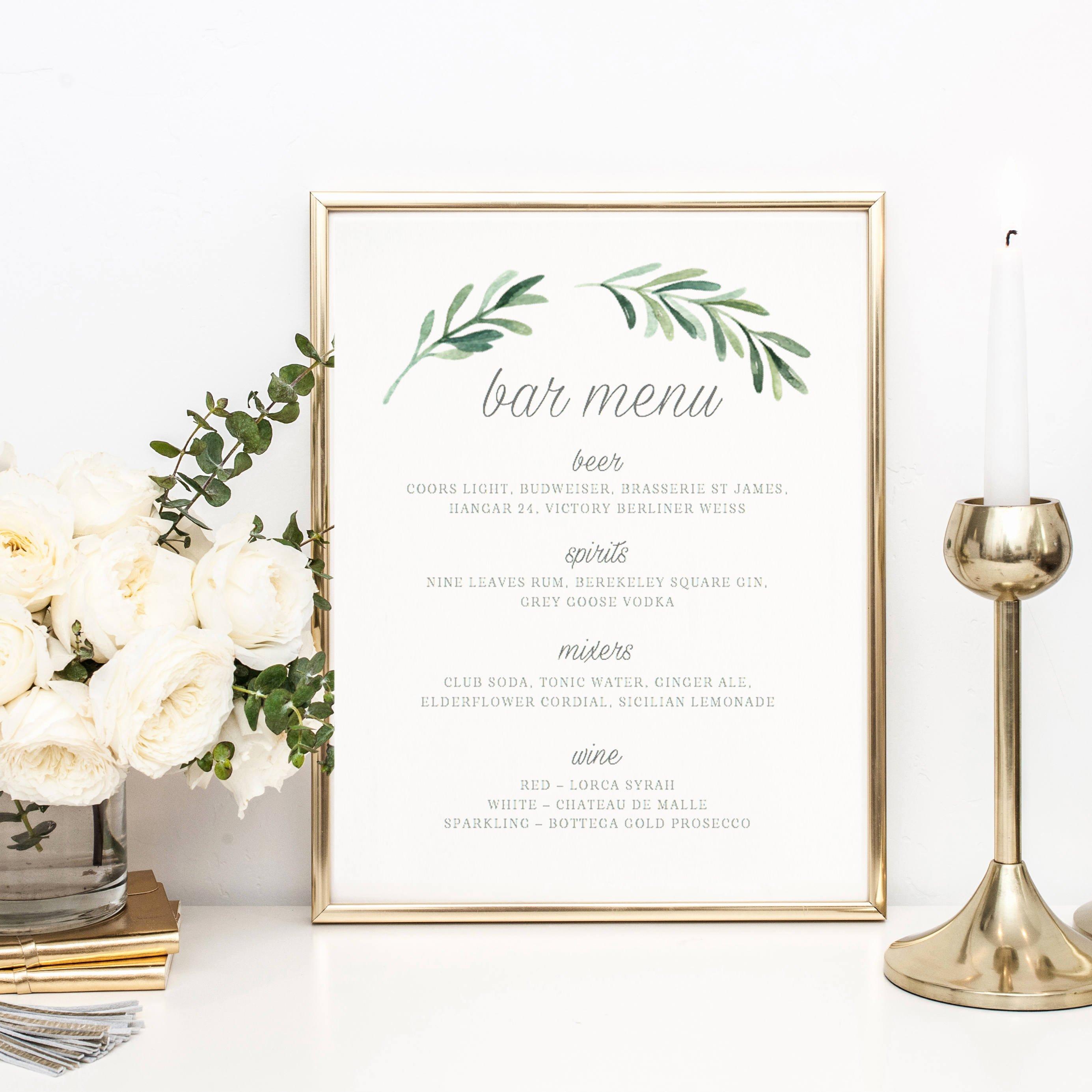 Wedding Bar Menu Template Elegant Wedding Bar Menu Template Drink Sign Printable Bar Menu