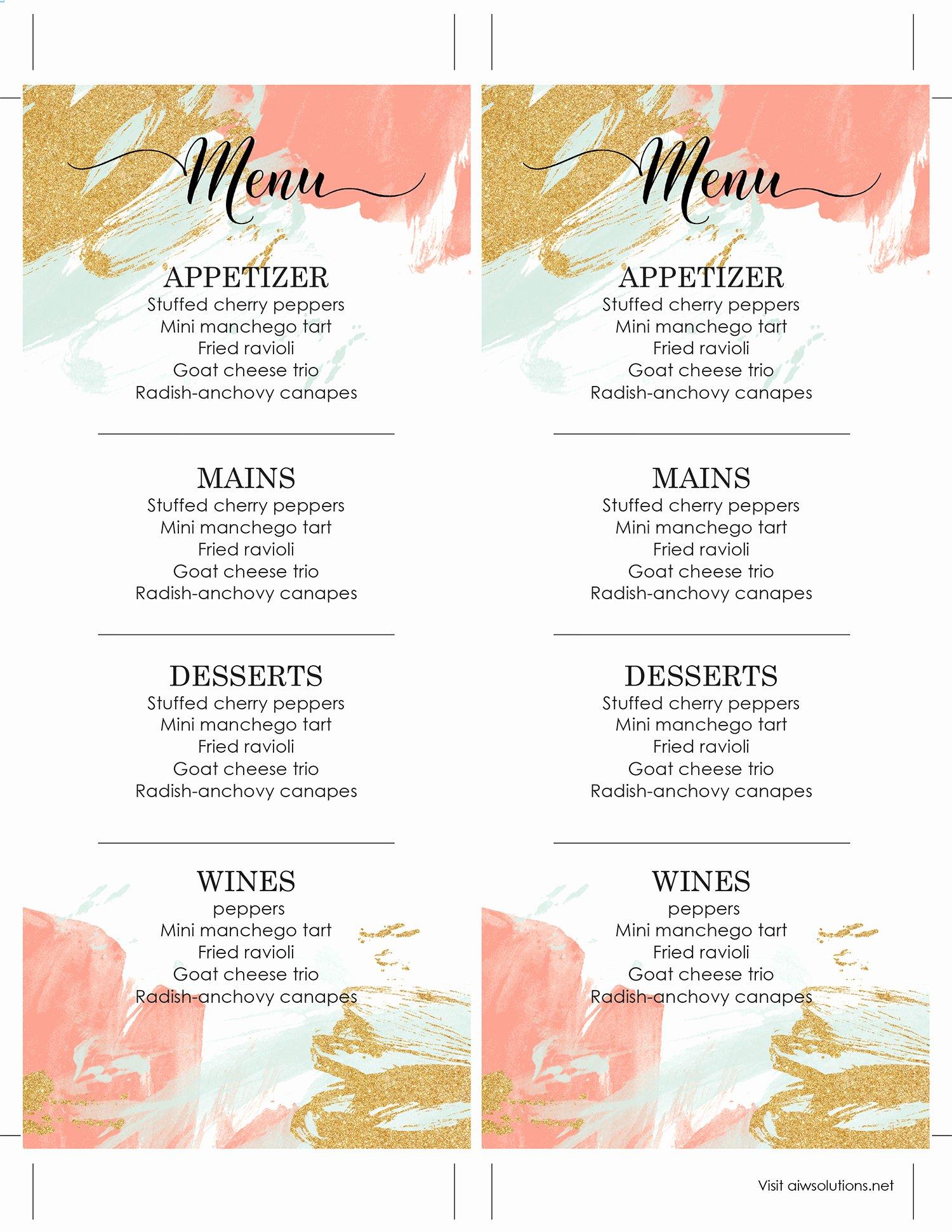 Wedding Bar Menu Template Fresh Design & Templates Menu Templates Wedding Menu Food