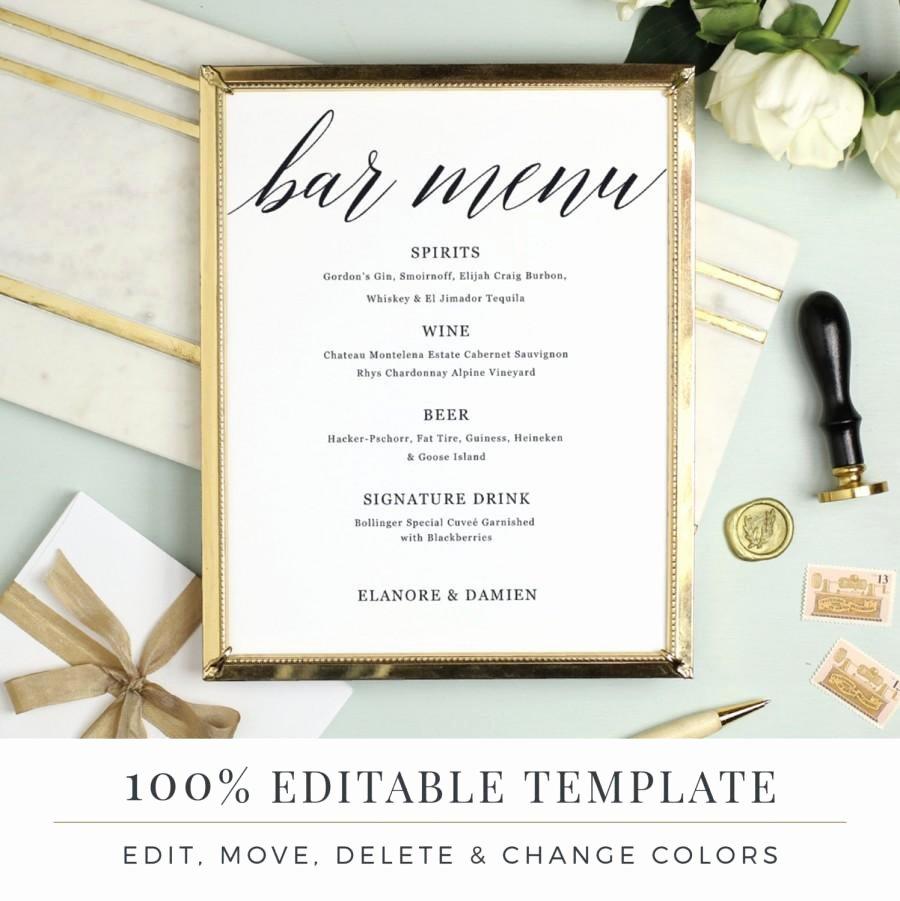Wedding Bar Menu Template Fresh Wedding Bar Menu Template Editable Bar Menu Printable