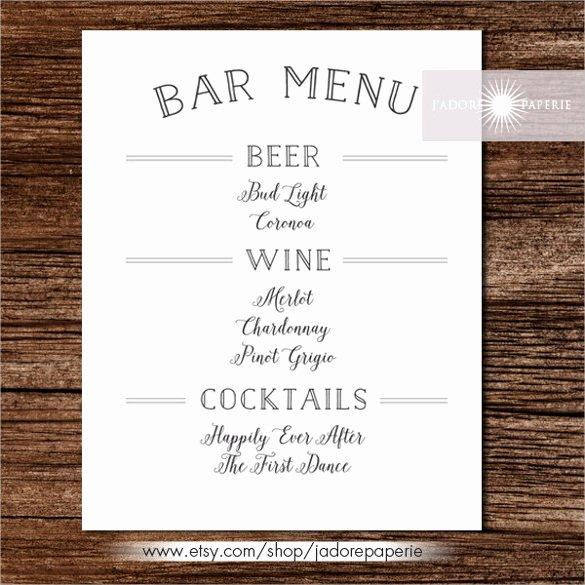 Wedding Bar Menu Template Inspirational 24 Bar Menu Templates – Free Sample Example format