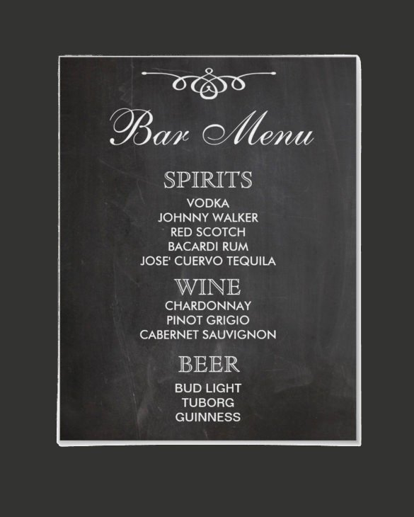 Wedding Bar Menu Template Inspirational 35 Bar Menu Templates Psd Eps Docs Pages