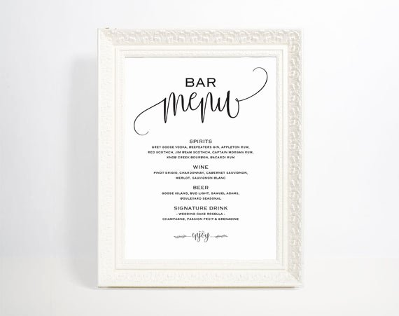 Wedding Bar Menu Template Lovely Bar Menu Template Bar Menu Bar Menu Printable Bar Menu